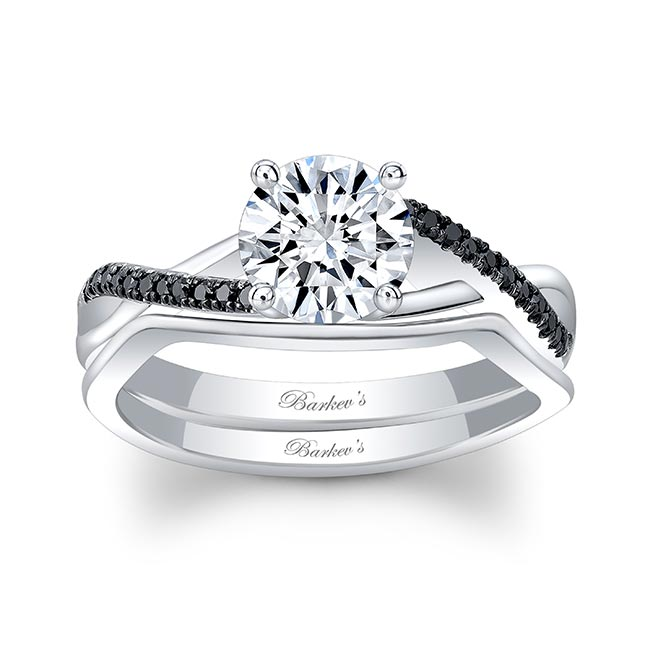 Gold Moissanite Black Diamond Accent Bridal Set