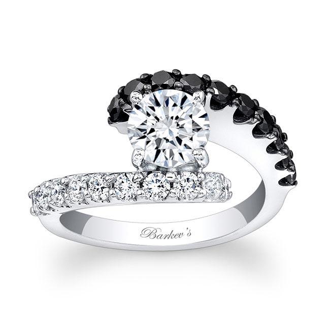 Moissanite and Black Diamond Engagement Ring MOI-7737LBK