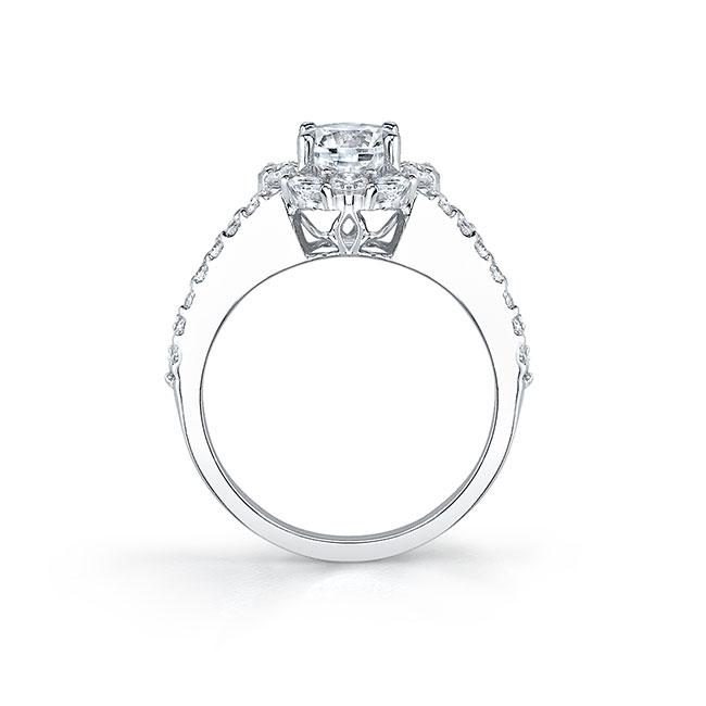 Moissanite Split Shank Halo Engagement Ring MOI-7762L Image 2