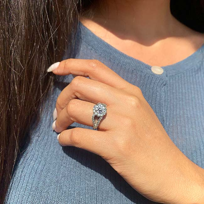 Moissanite Split Shank Halo Engagement Ring MOI-7762L Image 3