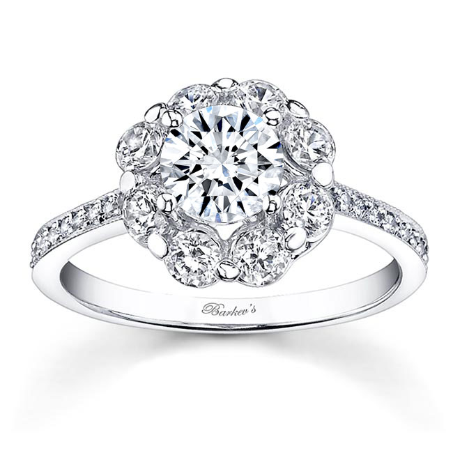 2 Carat Diamond Halo Moissanite Engagement Ring