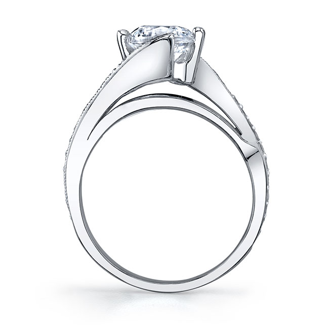 Moissanite and Diamond Engagement Ring MOI-7807L Image 2