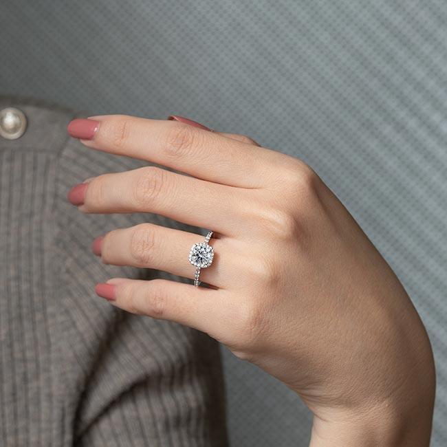 1 Carat Round Halo Engagement Ring Image 3
