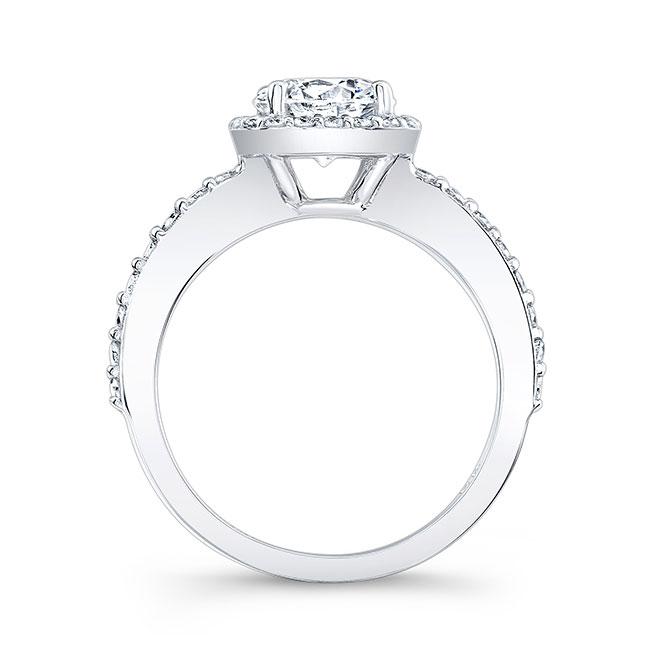 1 Carat Round Moissanite Halo Sapphire Engagement Ring Image 2