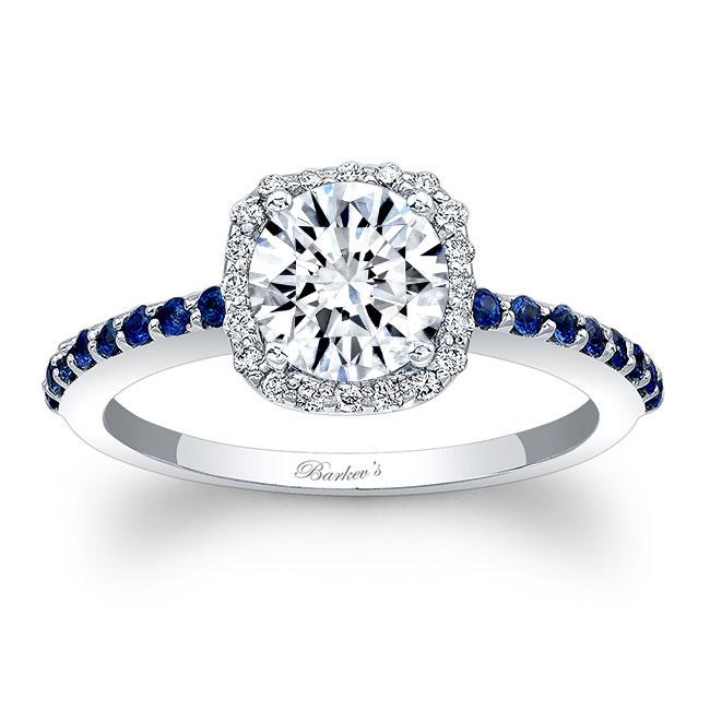 1 Carat Round Moissanite Halo Sapphire Engagement Ring Image 1