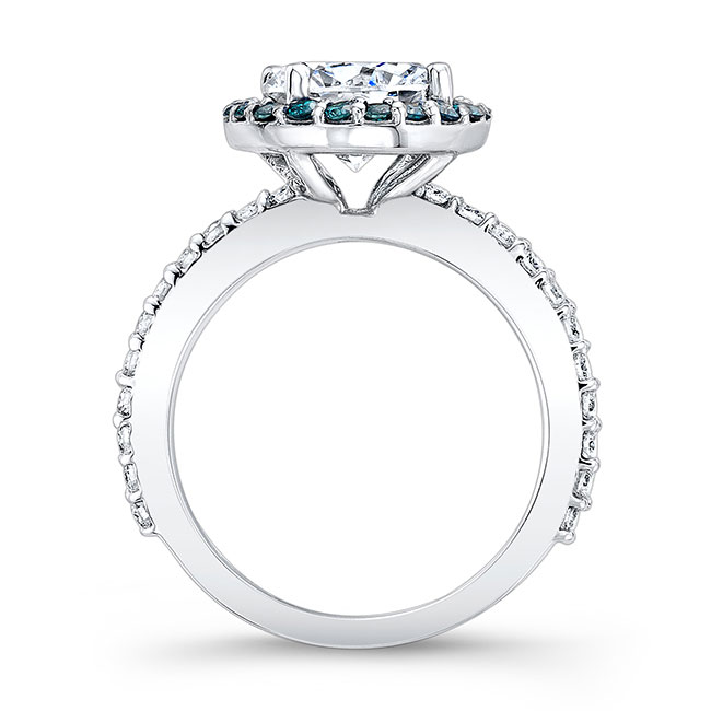 2.00ct. Moissanite Engagement Ring With Blue Diamonds MOI-7839LBD Image 2