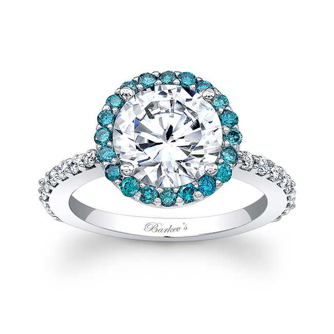 2.00ct. Moissanite Engagement Ring With Blue Diamonds MOI-7839LBD Image 1