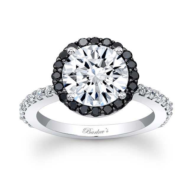 2.00ct. Moissanite Engagement Ring With Black Diamonds MOI-7839LBK