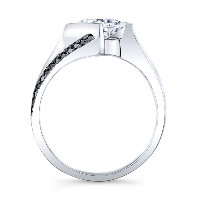 Princess Cut Square Black Diamond Ring Image 2