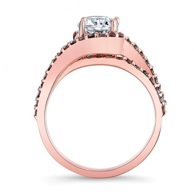 Rose Gold 1 Carat Moissanite Champagne Diamond Ring Image 2