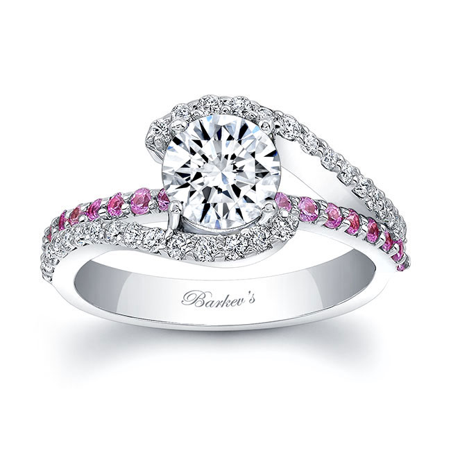1 Carat Moissanite And Pink Sapphire Ring