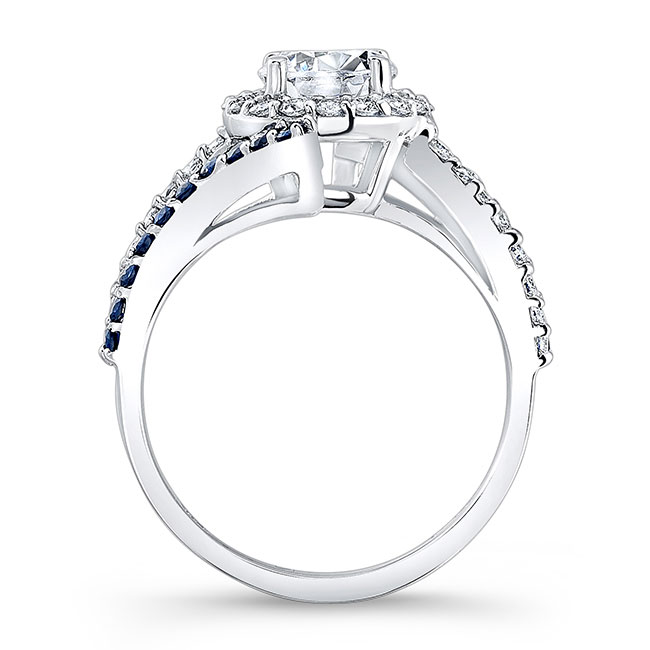 Contemporary Sapphire And Diamond Engagement Ring Image 2