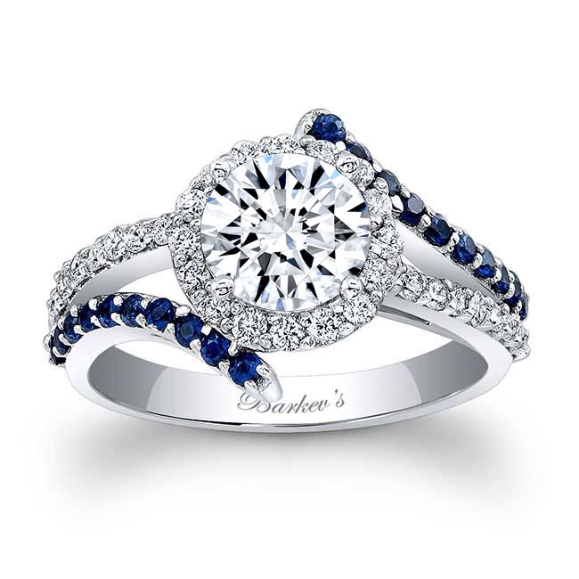 Contemporary Sapphire And Moissanite Engagement Ring