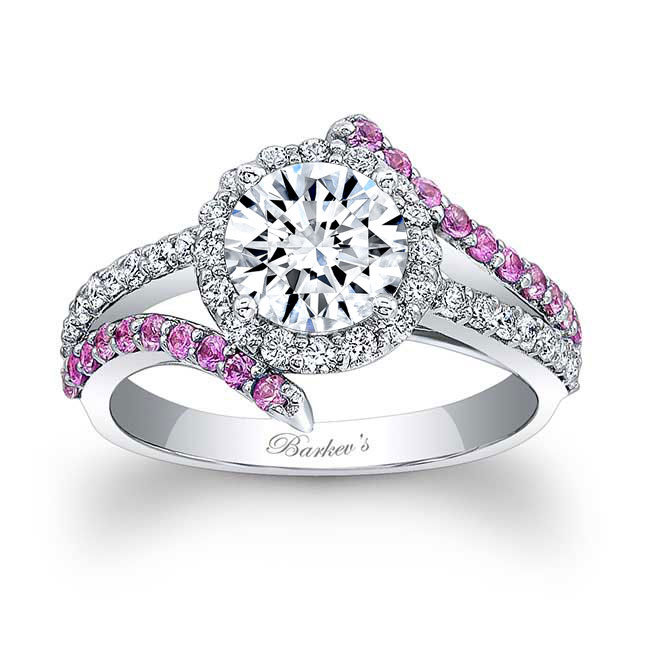 Contemporary Pink Sapphire And Moissanite Engagement Ring