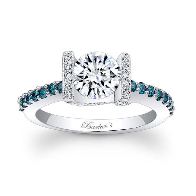 Blue Diamond and Moissanite Engagement Ring MOI-7867LBD