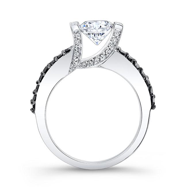 Black Diamond and Moissanite Engagement Ring MOI-7867LBK Image 2