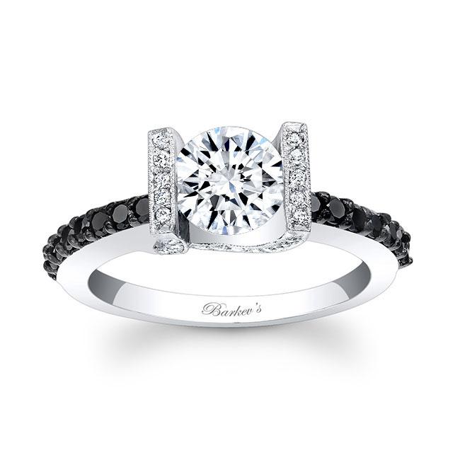 Black Diamond and Moissanite Engagement Ring MOI-7867LBK Image 1