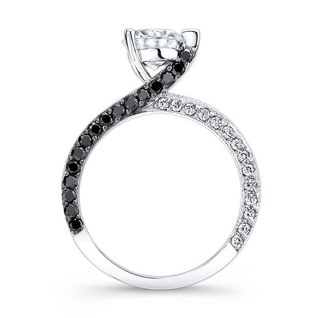 Moissanite and Black Diamond Engagement Ring MOI-7870LBK Image 2