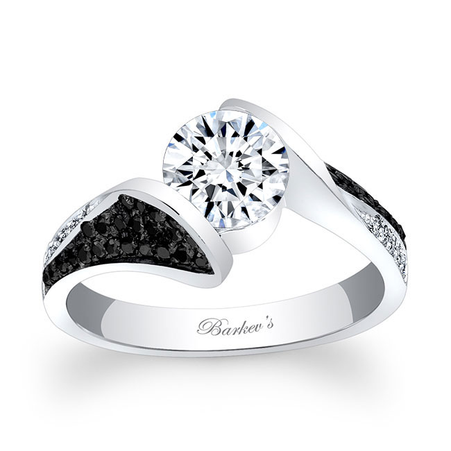 Moissanite and Black Diamond Engagement Ring MOI-7871LBK Image 1