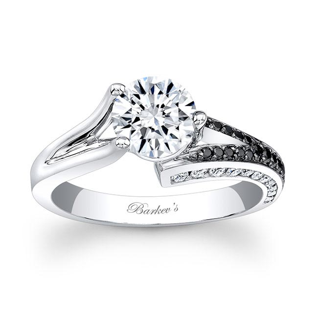 Black & White Diamond Moissanite Engagement Ring MOI-7873LBK Image 1