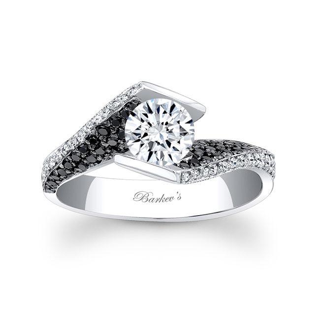 Black Diamond Moissanite Engagement Ring MOI-7879LBK Image 1