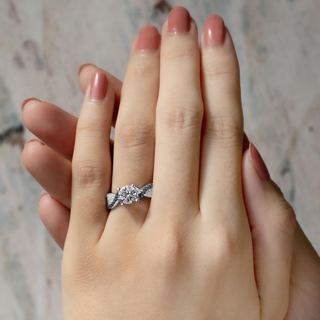 Moissanite & Black Diamond Engagement Ring MOI-7881LBK Image 3