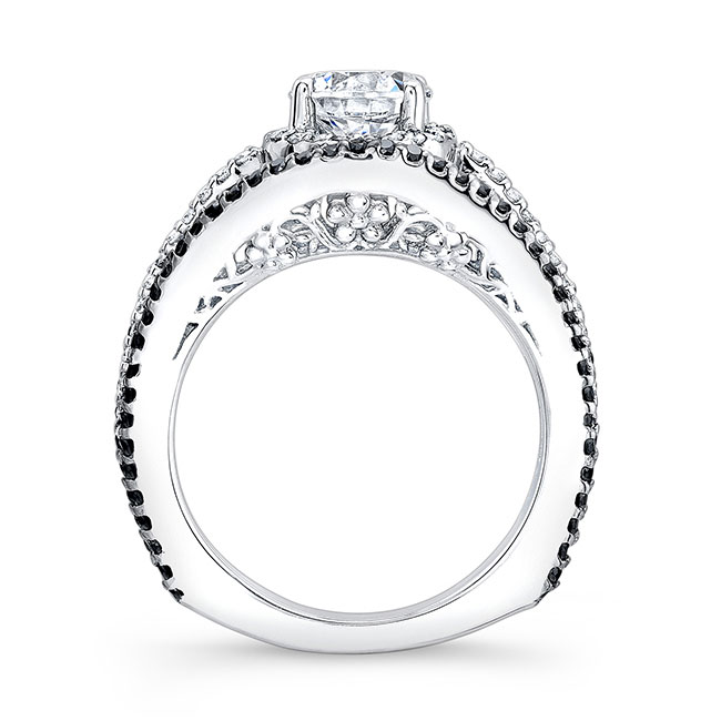 Black Diamond Moissanite Engagement Ring MOI-7886LBK Image 2