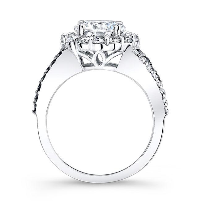 Black & White Diamond Moissanite Engagement Ring MOI-7893LBK Image 2