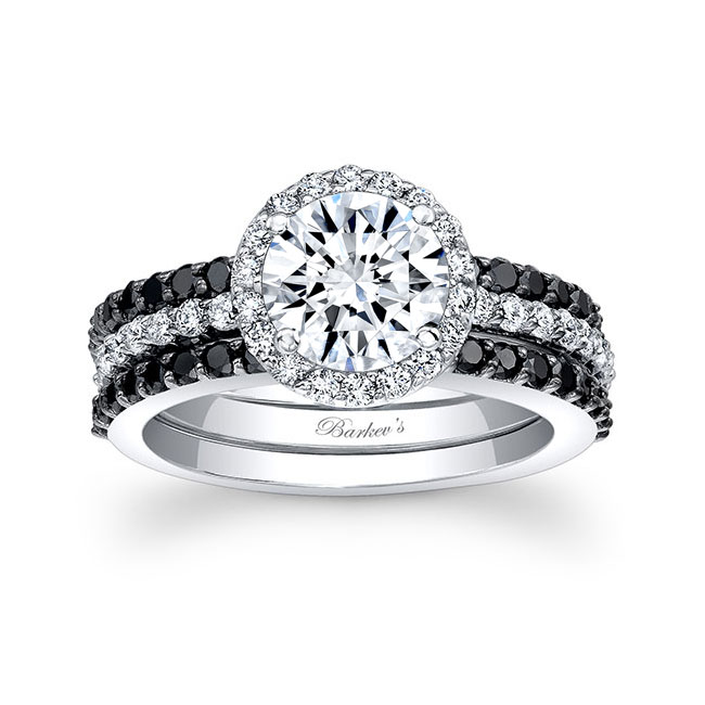 3 Piece Halo Black Diamond Moissanite Wedding Set