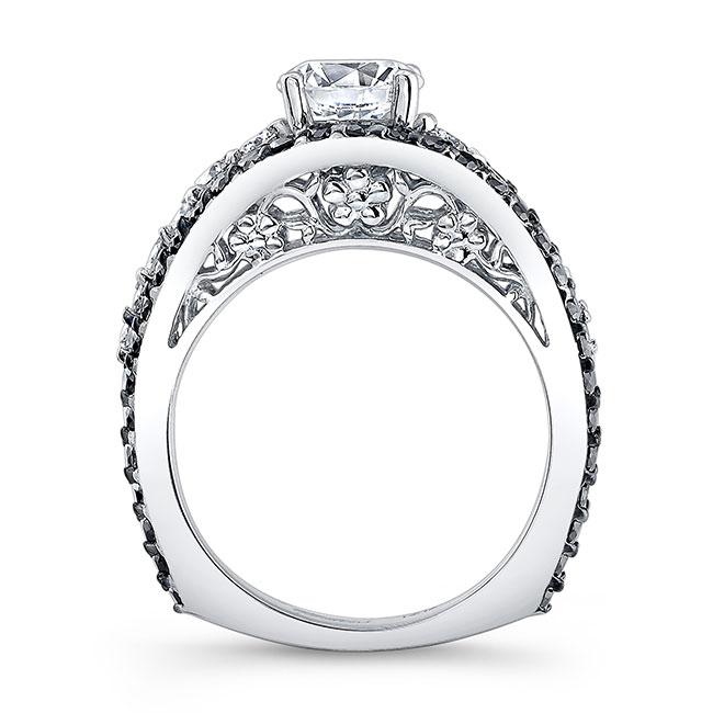 Moissanite and Black Diamond Engagement Ring MOI-7896LBK Image 2