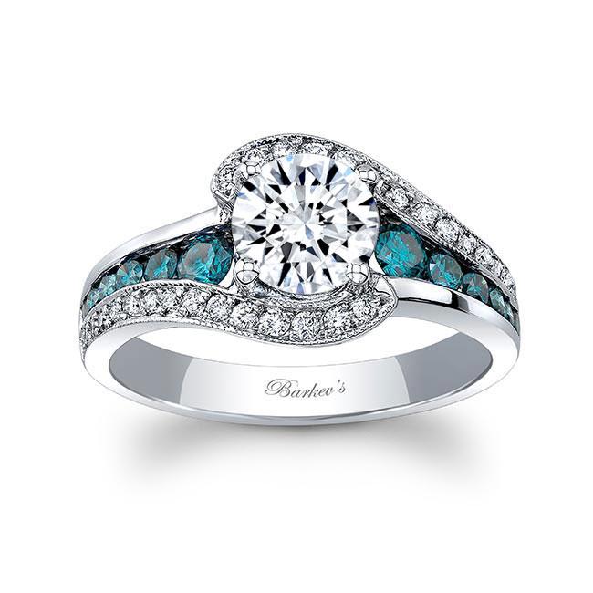 Unique Blue Diamond Accent Moissanite Engagement Ring