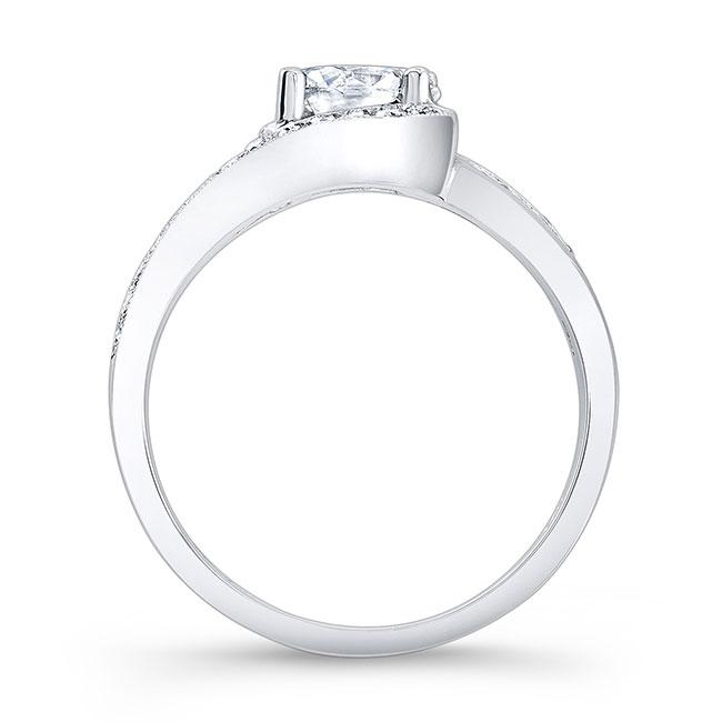 Unique Pink Sapphire Accent Moissanite Engagement Ring Image 2