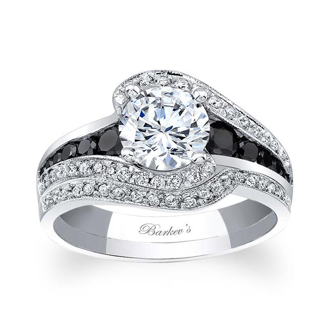 Unique Black Diamond Accent Bridal Set