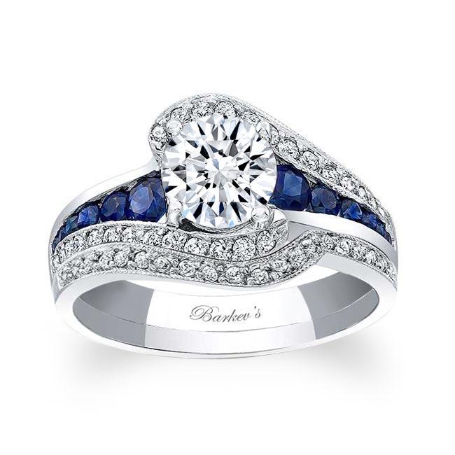 Unique Blue Sapphire Accent Bridal Set