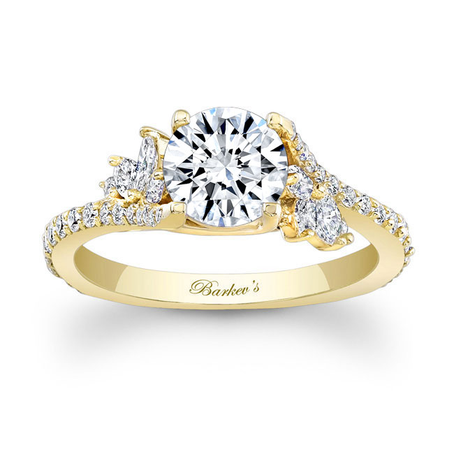 Moissanite And Marquise Diamond Engagement Ring MOI-7908L Image 1