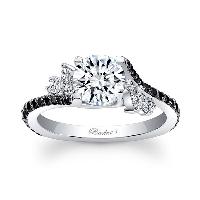 1.00ct. Round & Marquise Engagement Ring With Black Diamond 7908LBK Image 1