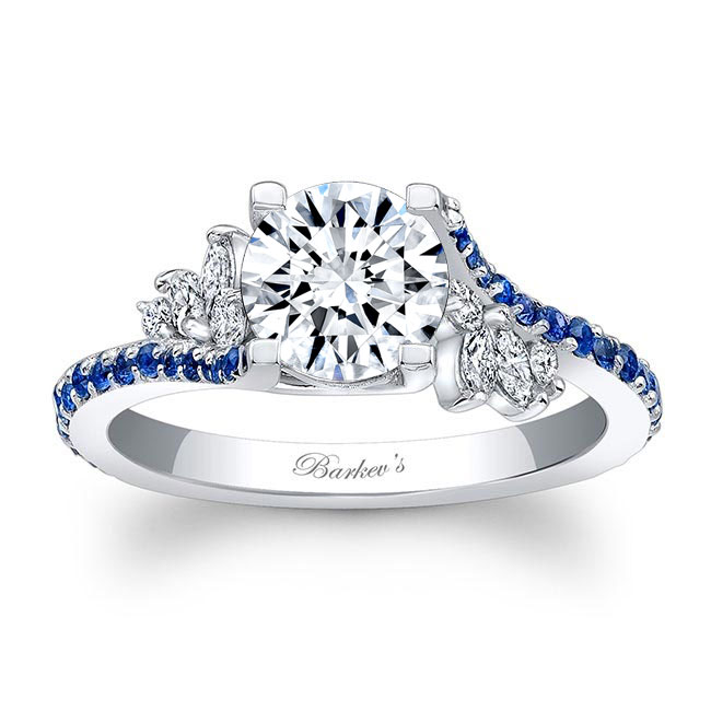 Moissanite Engagement Ring With Blue Sapphire MOI-7908LBS Image 1
