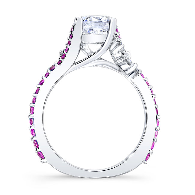 Moissanite Engagement Ring With Pink Sapphire MOI-7908LPS Image 2