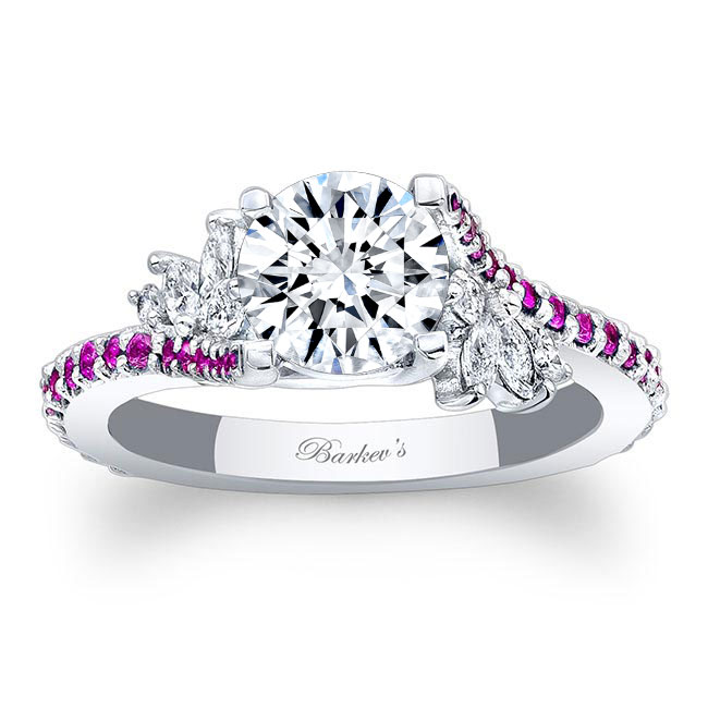 Moissanite Engagement Ring With Pink Sapphire MOI-7908LPS Image 1