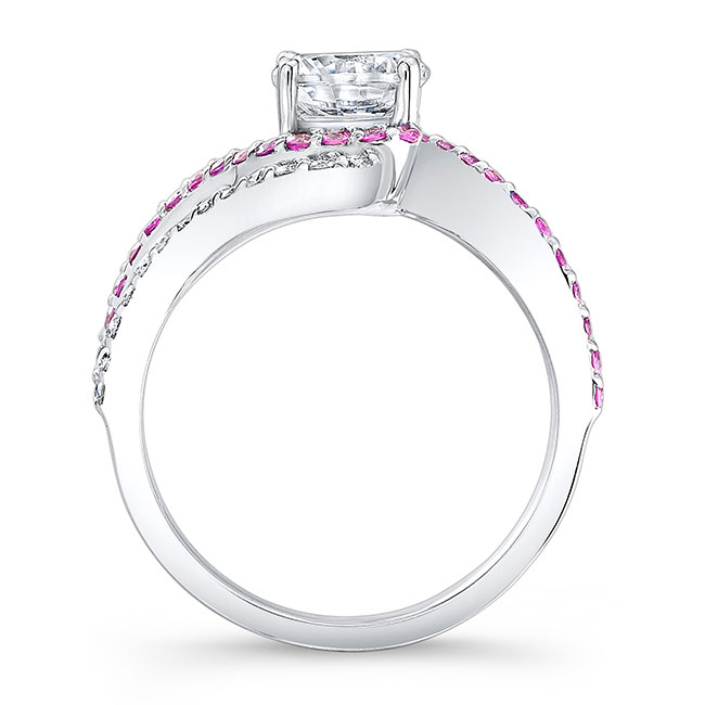 Moissanite and Pink Sapphire Engagement Ring MOI-7912LPS Image 2