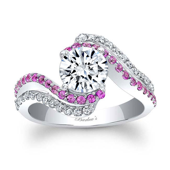 Moissanite and Pink Sapphire Engagement Ring MOI-7912LPS Image 1