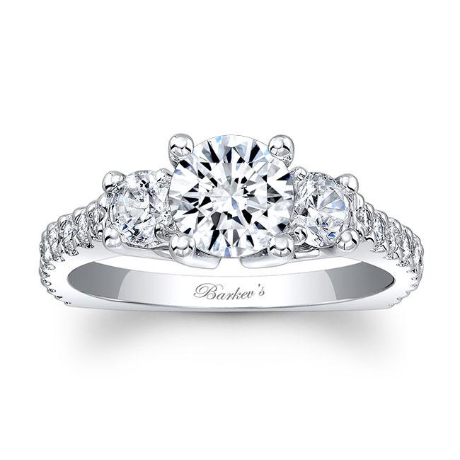 Three Stone Moissanite Engagement Ring MOI-7925L