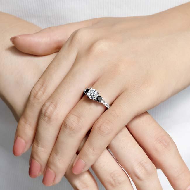 Moissanite and Black Diamond Engagement Ring MOI-7925LBK Image 3