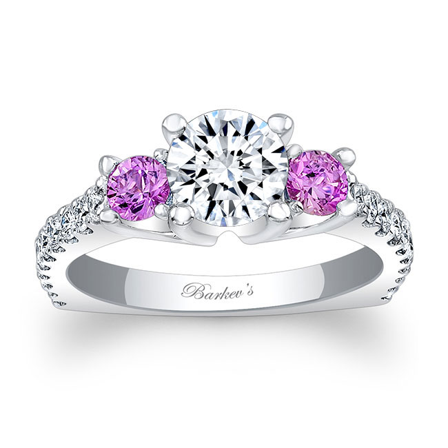 Moissanite and Pink Sapphire Engagement Ring MOI-7925LPS