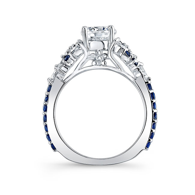 Vintage Marquise Blue Sapphire Accent Moissanite Engagement Ring Image 2