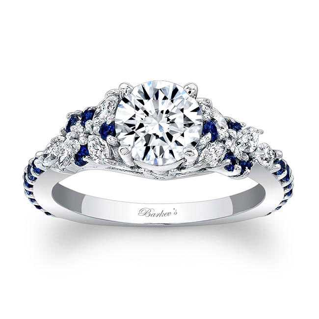 Vintage Marquise Blue Sapphire Accent Moissanite Engagement Ring Image 1