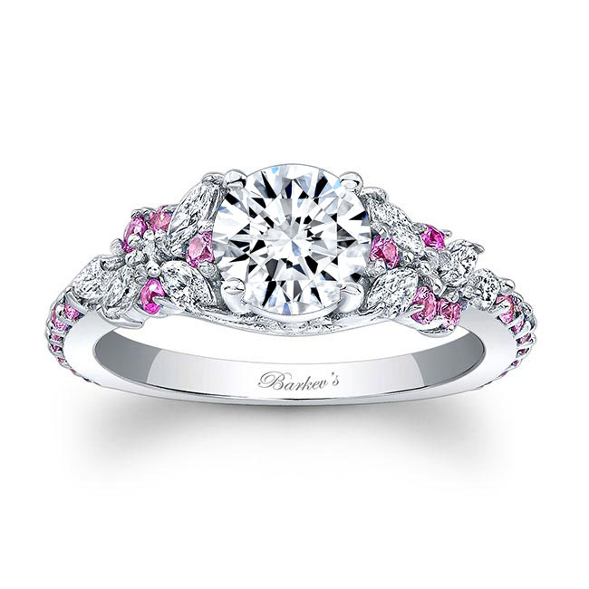 Vintage Marquise Pink Sapphire Accent Moissanite Engagement Ring Image 1