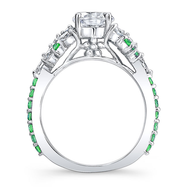 Vintage Marquise Tsavorite Accent Engagement Ring Image 2