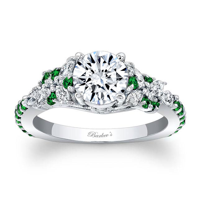 Vintage Marquise Tsavorite Accent Engagement Ring Image 1