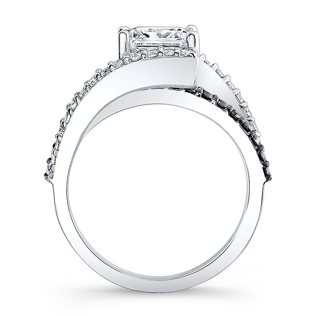 Black Diamond Split Shank Princess Cut Ring Image 2